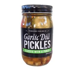 There are classic, everyday pickles and then there are our Classic Garlic  Dill Pickles With A Punch. Our Classics are bold with with a tinge of heat  that will amp up any sandwich, deep-fry or bake for the perfect appetizer,  or make your own bold statement by using the brine to poach an egg or brine  a chicken.  INGREDIENTS cucumbers, apple cider vinegar, water, kosher salt, garlic, chile,dill,  crushed red pepper, black peppercorns  SIZE 16 oz (454 g)  PICKLES AIN'T JUST FOR SANDWICH...