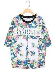 Корейские студенты провели небольшой свежий цветочный хеджирования длинный участок сыпучих букв печатных хлопок шею дна рубашки 2236L-Taobao ...