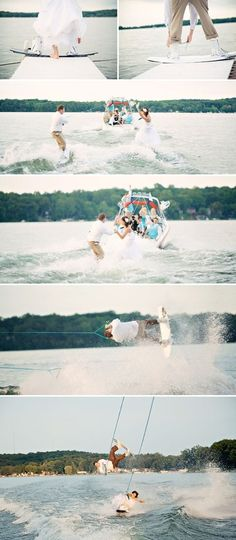 Water skiing trash the dress! So cool!