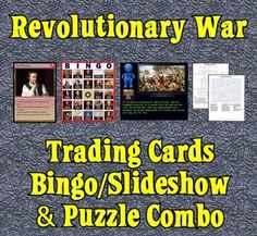 The Revolutionary War Combo Pack includes my Revolutionary War Trading Cards, my Revolutionary War Fact-Filled Bingo & Slideshow software, and four Revolutionary War Puzzles.  Save $2.00 by combining all three products!The set of 54 trading cards highlights famous persons, places, events and documents of the Colonial America and Revolutionary War periods.