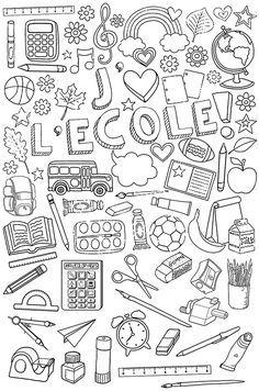 Affaires d'école à colorier Plus
