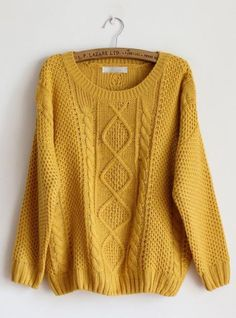 Pretty Round Neck Yellow Sweater $43.00 @ema Dash