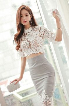 VenusFox Summer White Lace Shirt and Skirt 2 Piece Suit Set suit set for women. Summer White Lace Tops Semi Sleeveless Blouse Shirt and Pencil Skirt Crop Top and Skirt Set Asian Fashion, Girl Fashion, Sexy Dresses, Fashion Dresses, Club Dresses, Dress Outfits, Short Dresses, Suits For Women, Clothes For Women