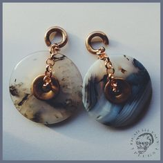 Lace agate donut ear weights