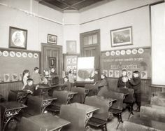 St. Louis Public Schools classroom exhibit in the Palace of Education at the 1904 World's Fair. Missouri History Museum