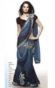 Blue and Silver Lehenga Sari Ethnic Fashion, African Fashion, Indian Fashion, Women's Fashion, Lehenga Style Saree, Bridal Lehenga, Floral Lehenga, Latest Indian Saree, Indian Sarees Online