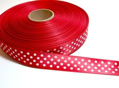SingleFaced red confetti dot satin ribbon 7/8 by GriffithGardens, $3.25