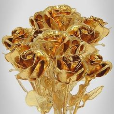 24k Gold Plated Rose Bouquet: 12 Roses | Love Is A Rose