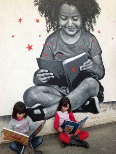 Street Art, Reading Girl Mural. | Jef Aerosol, 23 mars 2013, Beaugency (France)