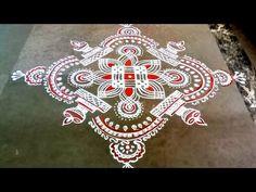 Indian Rangoli Designs, Rangoli Border Designs, Beautiful Rangoli Designs, Kolam Designs, Rangoli Borders, Kolam Rangoli, Simple Rangoli, Alpona Design, Padi Kolam