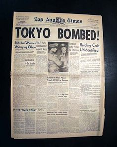 LA Times April 18, 1942 Doolittle Raiders headline