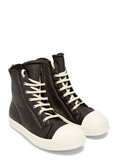 Rick Owens Shearling High Sneakers