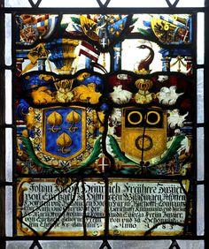 Heraldic window in the church of Klingnau, Aargau, Switzerland