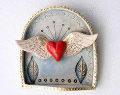 Winged Heart Shrine-Valentine's Day gift by jolucksted on Etsy Ceramic Pendant, Ceramic Art, Clay Crafts, Arts And Crafts, Art Clay, Mermaid Sculpture, Mexico Art, Tin Art, Paperclay