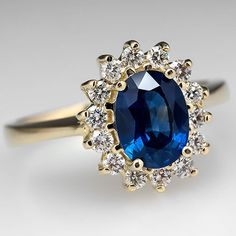 Natural Oval Blue Sapphire Engagement Ring Diamond Halo Solid 18K Gold Jewelry #SolitairewithAccents