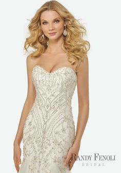 Randy Fenoli Bridal, Krystal Wedding Dress   Style 3412. Intricately Beaded Embroidery on a Strapless, Sweetheart Neckline Tulle Mermaid Gown with Sparkling Tulle Godets.