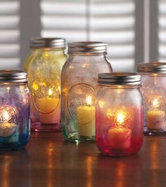 Mason Jar Crafts | Create a #DIY candle holder using watercolors and Ball Jars for Mom | Mother's Day Gift Inspiration from @J O-Ann Fabric and Craft Stores
