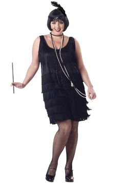 ⭐️Plus Size Fashion Flapper Costume includes Sexy Dress With Layered Fringe, Sequin Trim And Headband With Feather. Go back to the famous 20s this Halloween and impress your friends with this costume design flapper costume. The perfect roarin 20s flapp