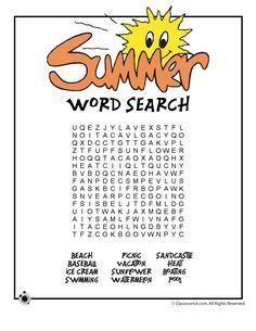 Kids Summer Word Search Printable