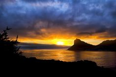 Sunset in Hout Bay in Cape Town, South Africa