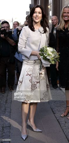 Crown Princess Mary Of Denmark Attends A Cocktail Evening At Max Mara In Copenhagen As Part Of The Hans Christian Andersen Bicentennial Celebrations. (Photo by Julian Parker/UK Press via Getty Images)
