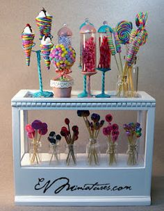 EV Miniatures gorgeous sweet things-inspiratations for AG doll size-small flower pots, candy sticks for lollie pops, clay for lollie pops, plastic capped containers for holders, paint for wooden boxes from dollar store