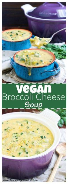 "This thick & creamy vegan broccoli cheese soup recipe is loaded with ""cheesy"" goodness that will quench your craving for comfort food. Vegan, & gluten-free."