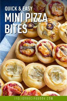 Quick, easy mini pizza bites or Pizzette are perfect as an appetizer or snack. Kids will LOVE them!! Italian Recipe Book, Italian Bread Recipes, Pizza Rustica, Rustic Bread, Savory Pastry, Cheese Pies, Pizza Bites, Vegetable Puree, Bite Size