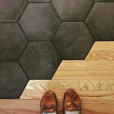 Tile flooring organic transition hexagon tiles and oak hardwood