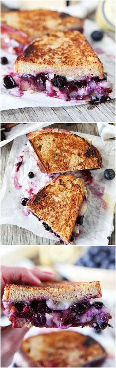 Blueberry, Brie, and Lemon Curd Grilled Cheese Recipe on http://twopeasandtheirpod.com