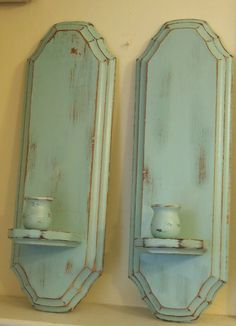 Wall Sconce Wood Vintage Candle Stick Holders by MollyMcShabby