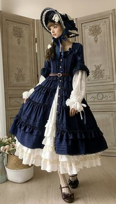 Little Dipper -Classic Mary- Vintage Classic Lolita Open Front OP Dress,Lolita Dresses, Harajuku Fashion, Kawaii Fashion, Lolita Fashion, Cute Fashion, Girl Fashion, Vintage Fashion, Fashion Design, Fashion Boots, Gothic Dress