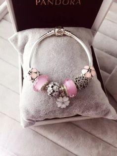 50% OFF!!! $199 Pandora Charm Bracelet Pink White. Hot Sale!!! SKU: CB01639 - PANDORA Bracelet Ideas
