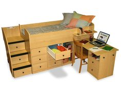Berg Captains Bed w/ Desk & Stairs: BERG CAPTAINS BED COLLECTION @ Cozy Furniture