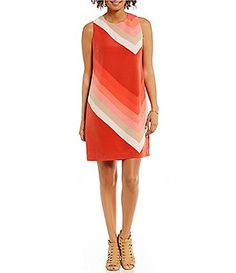 Vince Camuto Round NEck Sleeveless Modern Bands Printed Shift Dress