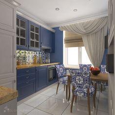 Дизайн кухни в синих тонах в ЖК Дом-Мегалит на Неве