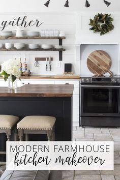 OUR MODERN FARMHOUSE KITCHEN MAKEOVER The Reveal via @akadesigndotca