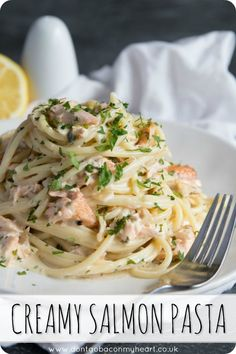 This Salmon Pasta couldn't easier to make! Served with a Creamy Dill Sauce, quick date night dinners have never been so delicious! #salmon #pasta #dinner | www.dontgobaconmyheart.co.uk Egg Recipes For Dinner, Dinner Dishes, Main Dishes, Cup Of Soup, Meal Planning, Spaghetti, Eggs, Entrees, Main Courses