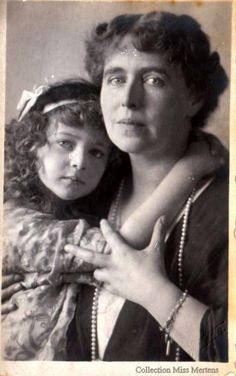 Queen Marie of Romania and her last daughter, Princess Ileana of Romania, later Arcduchess of Austria & Hungary.