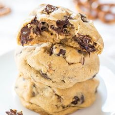 If you love salty-and-sweet treats, these are for you. Soft chocolate chip cookies with crunchy pretzels baked in. There are so many different flavor and texture elements, making the cookies totally irresistible. I adapted the dough base I used in Trail Mix Protein Bar Cookies and Cream Cheese Cookies. I've been enjoying this base lately because the …