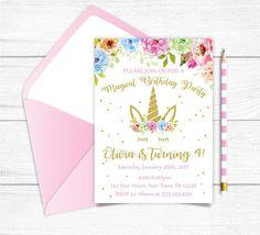 Any Age Printable Unicorn Birthday Invitation Magical Floral