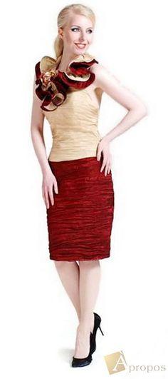 APROPOS Abendkleid Coctailkleid Taft Extravagant Beige Weinrot 2-Teilig Größe 46