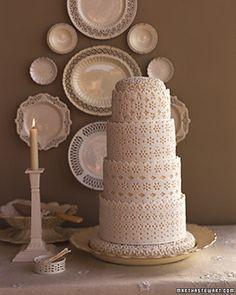 Lace-look wedding cake.