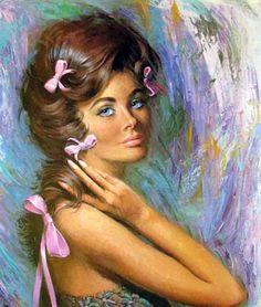 Lou Shabner (pin up artist) Vintage Prints, Vintage Art, Purple Ribbon, Pink Bows, Retro Pop, Mid Century Art, Pulp Art, Pin Up Art, Face Art