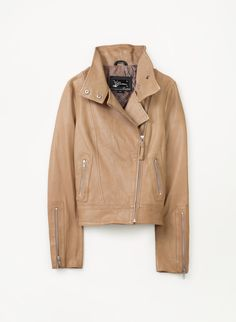 A great leather jacket never fails and this light nude colour is perfect for spring.