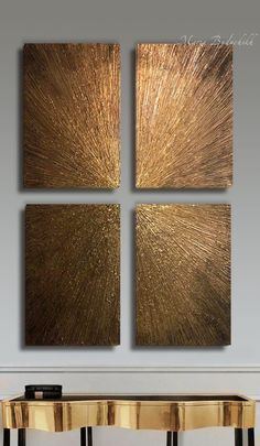 Items similar to Extra Large Wall Art, Gold Leaf Art ,Original Abstract Painting ,Set of 4 golden paintings,Textured Paintings On Canvas on Etsy Extra Large Wall Art, Gold Leaf Art, Abstract Art Painting, Leaf Art, Wall Art Sets, Abstract Wall Art, Texture Painting, Abstract, Metal Wall Art