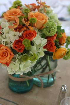 example of orange mokara orchids in a bouquet