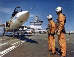 Enterprise (CVN-65) Vigi drivers saddle up for a recce mission, 1962. The North American A-5 Vigilante was a carrier-based supersonic bomber served in the nuclear strike role to replace the Douglas A-3 Skywarrior. It saw extensive service during the Vietnam War in the tactical strike reconnaissance role.