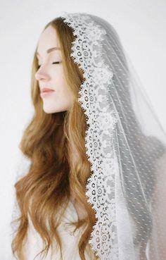 ESMA Spotted Mantilla Wedding Veil Mantilla Veil