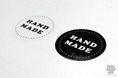Packaging Sticker handmade round black and by StarsStripesAndDots